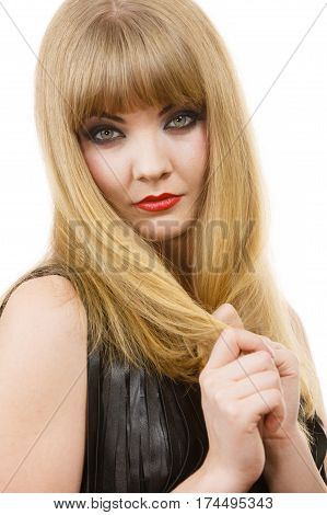 Beauty people concept. Portrait of attractive young lady. Beautiful woman with blonde hair and amazing make up posing for the picture.