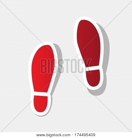 Imprint soles shoes sign. Vector. New year reddish icon with outside stroke and gray shadow on light gray background.