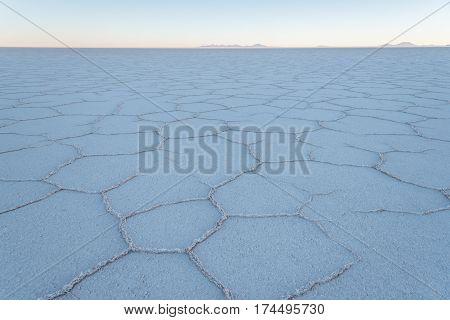 Salar de Uyuni the world's largest salt flat area Altiplano Bolivia South America