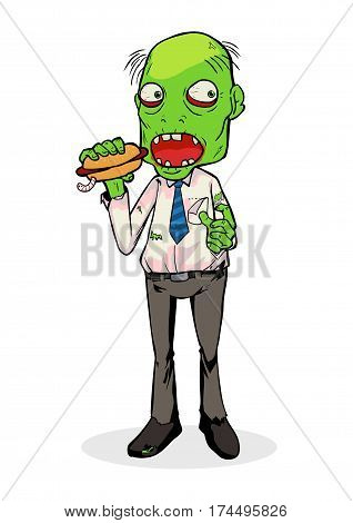 Cartoon illustration of a zombie eating a hotdog