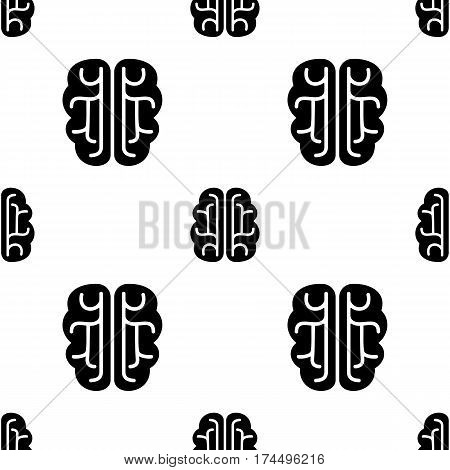 Brain vector icon seamless pattern, tiling ornament on white. Vector background.