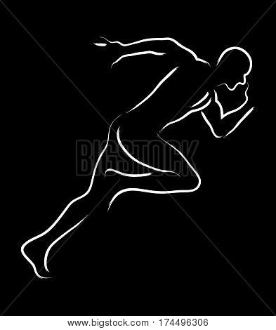 Simple graphic of a male figure off to a fast start