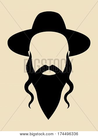 Simple graphic of a man with long beard wearing a hat