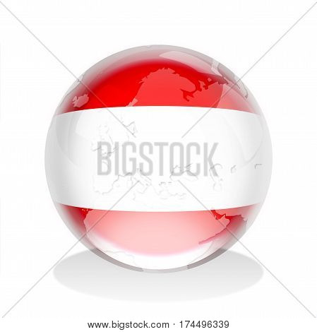 Crystal sphere of Austrian flag with world map