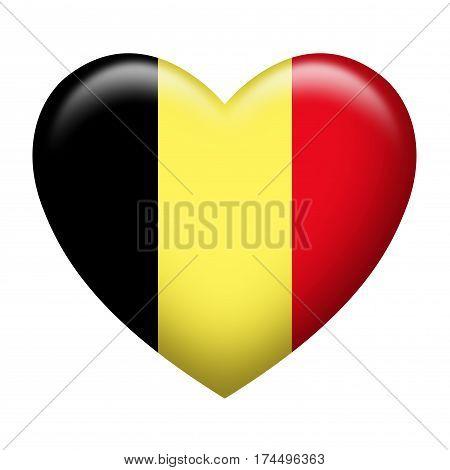 Heart shape of Belgium flag isolated on white