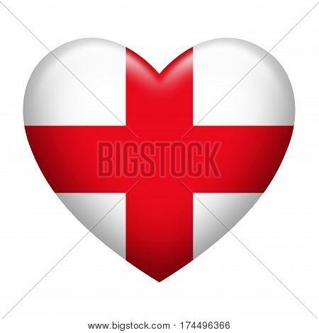 Heart shape of England flag isolated on white