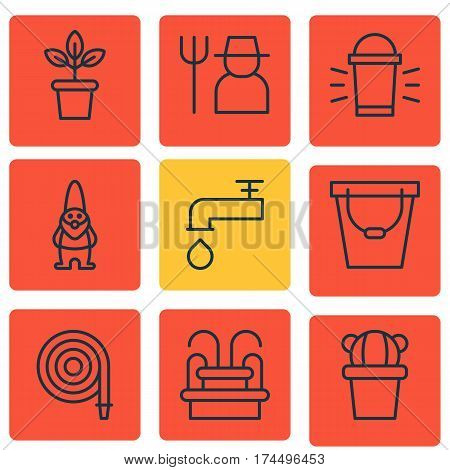 Set Of 9 Farm Icons. Includes Water Monument, Hang Lamp, Pail And Other Symbols. Beautiful Design Elements.