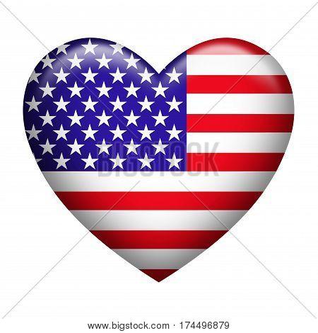 Heart shape of USA flag isolated on white