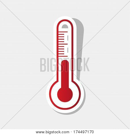 Meteo diagnostic technology thermometer sign. Vector. New year reddish icon with outside stroke and gray shadow on light gray background.