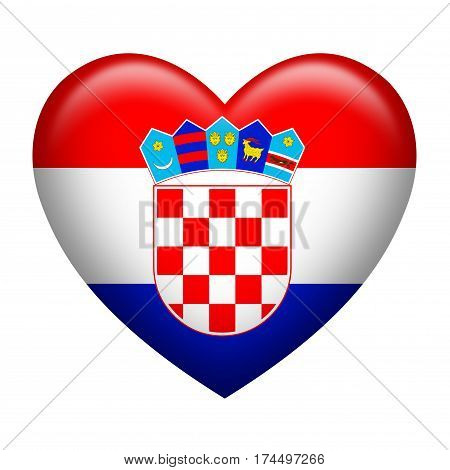 Heart shape of Croatian flag isolated on white