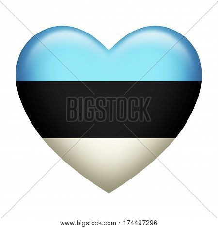 Heart shape of Estonian insignia isolated on white