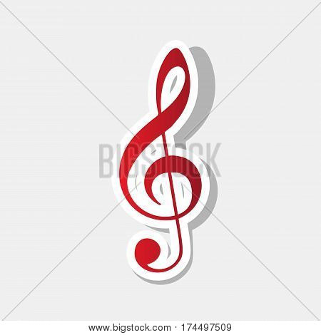 Music violin clef sign. G-clef. Treble clef. Vector. New year reddish icon with outside stroke and gray shadow on light gray background.