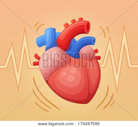 Human heart beating. Medical cartoon vector illustration