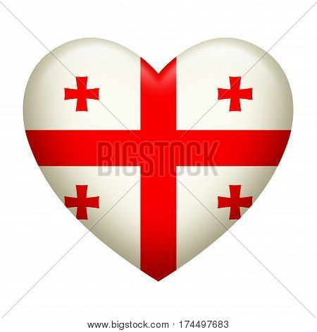 Heart shape of Georgia insignia isolated on white