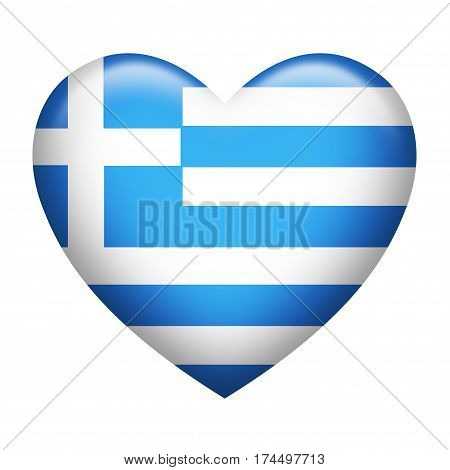 Heart shape of Greek insignia isolated on white