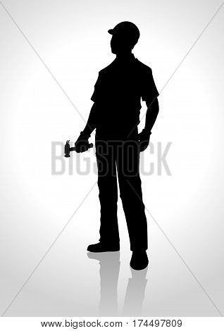 Silhouette illustration of a handyman holding a hammer