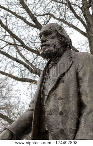 The Edward Everett Hale statue in the Boston Garden