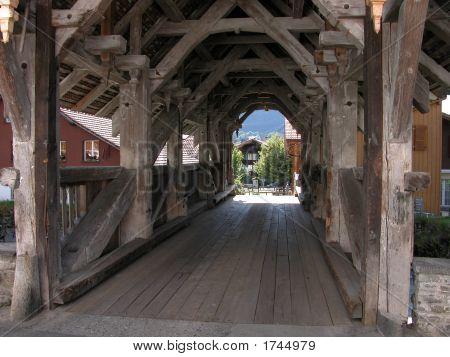 Covered Vechicle Bridge In Wilderswil, Switzerland
