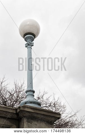 The old fashioned lamps in the bridge of the Boston Garden