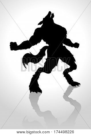 Silhouette vector illustration of a howling werewolf