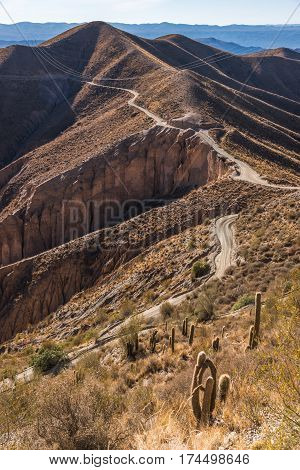 Road in Mountains of Altiplano Bolivia South America