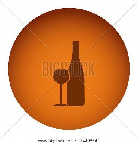 orange emblem wine bottle with glass icon, vector illustraction design