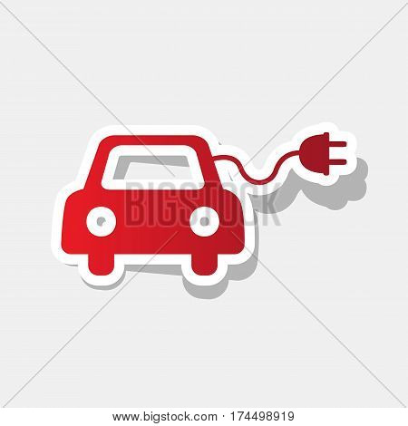 Eco electric car sign. Vector. New year reddish icon with outside stroke and gray shadow on light gray background.