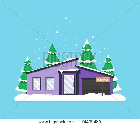 Winter scene with house Christmas trees and snowfall. Holiday frozen background for decoration card invitation greeting poster postcard. Real estate snowy concept. Village in December time.