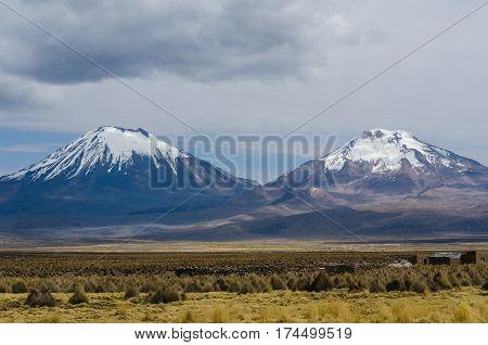 Two volcano, Nature of Altiplano Bolivia South America