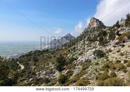 Scenic nature background. Southern slope of Kyrenia mountain range in Kyrenia region, Nothern Cyprus.