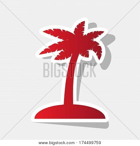 Coconut palm tree sign. Vector. New year reddish icon with outside stroke and gray shadow on light gray background.
