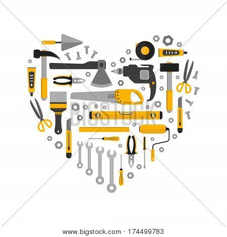 Flat set of working tools in heart shape. Icons design elements. Construction and home repair instruments. Hand drill glue screwdriver saw pliers level hammer scissors. Vector illustration
