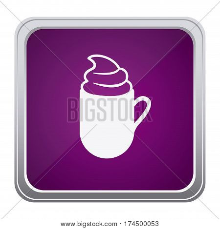 purple emblem cuppa coffee with cream icon, vector illustraction design