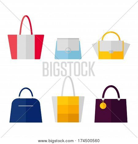 Bag icon isolated on white background. Women bags set. Flat vector illustration design.