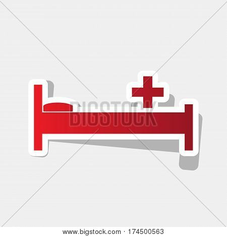 Hospital sign illustration. Vector. New year reddish icon with outside stroke and gray shadow on light gray background.