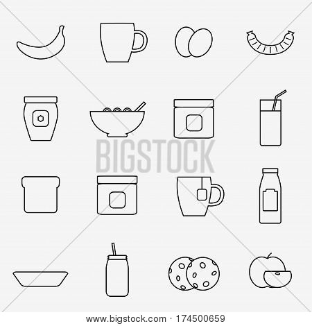 Breakfast icons isolated on white background. Breakfast food set. Coffee, toast, corn flakes, juice, apple, banana, jam, honey, tea, milk, cookies, eggs, sausage. Flat line style vector illustration.