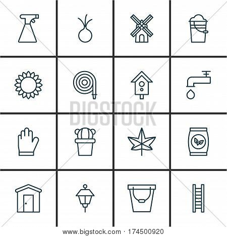 Set Of 16 Gardening Icons. Includes Farmhouse, Garlic, Spigot And Other Symbols. Beautiful Design Elements.