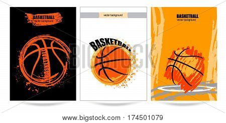 Set posters, placard basketball, vector illustration grunge design