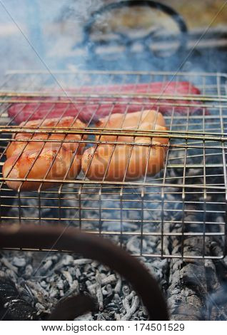 Grilled Sausages On The Smoke.