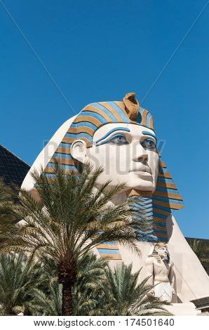 Replica of Great Sphinx in front of Luxor Hotel in Las Vegas Nevada USA