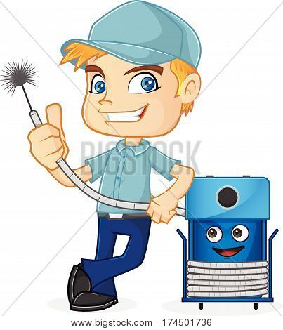 HVAC Technician leaning on cleaning machine isolated in white background