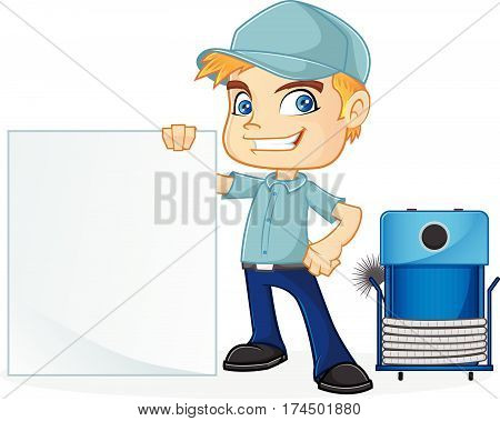 HVAC Technician holding blank sign isolated in white background