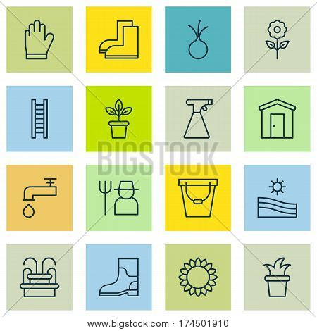 Set Of 16 Farm Icons. Includes Spigot, Stairway, Gardening Shoes And Other Symbols. Beautiful Design Elements.