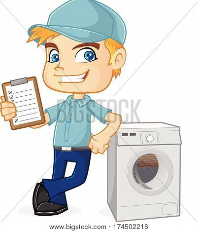HVAC Technician leaning on washing machine isolated in white background