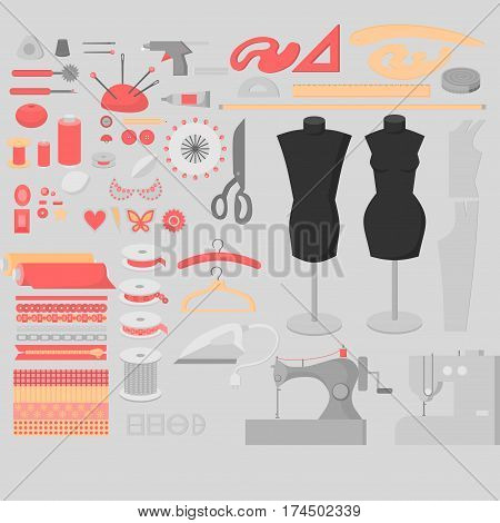 Sewing workshop equipment big set. Flat tailor shop design elements. Tailoring industry dressmaking tools icons. Fashion designer sew items.