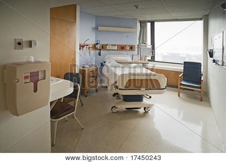 Clean Empty Hospital Room Ready for One Patient poster