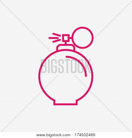 Perfume isolated icon on background. Perfume bottle. Fragrance. Perfumery product. Flat line style vector illustration.