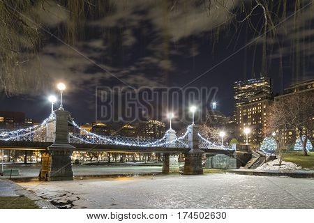 A night view of Boston Garden Bridge