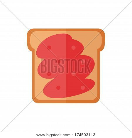 Toast bread isolated icons on white background. Sandwich with jam. Breakfast food. Flat style vector illustration.