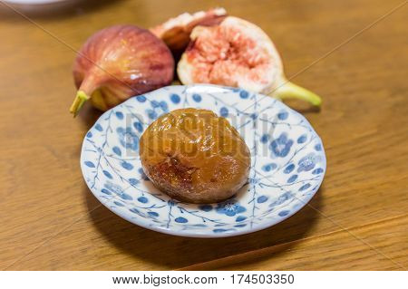 Homemade Sweeten Preserved Fig And Fresh Figs.